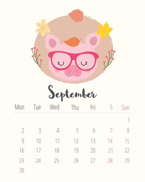 Calendario 2019. maiale carino. mese di settembre Vettore Premium