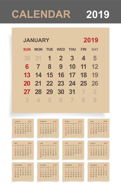 calendario 2019 su carta marrone