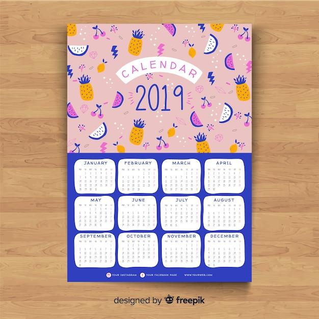 Calendario 2019 Vettore gratuito