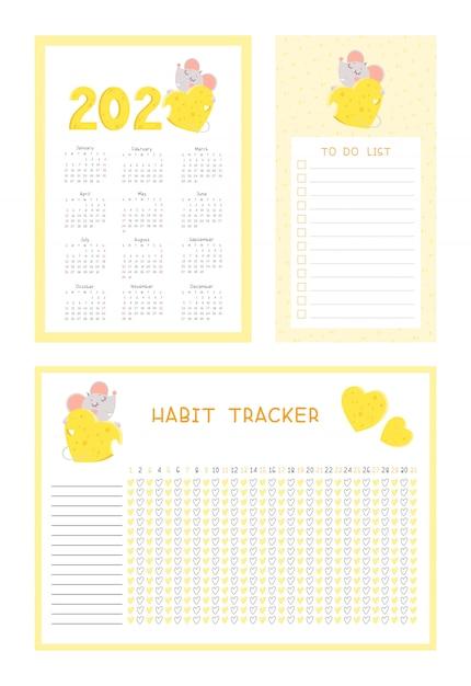 Calendario 2020, tracker delle abitudini e lista di cose da fare con set di modelli di vettore piatto mouse carino Vettore Premium