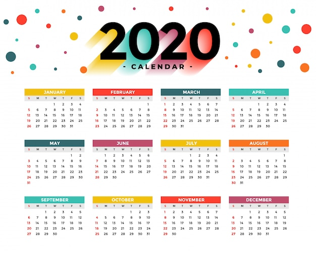 Calendario 2020 Vettore gratuito