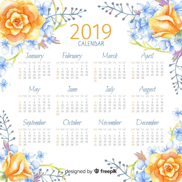 Calendario acquerello 2019 Vettore gratuito