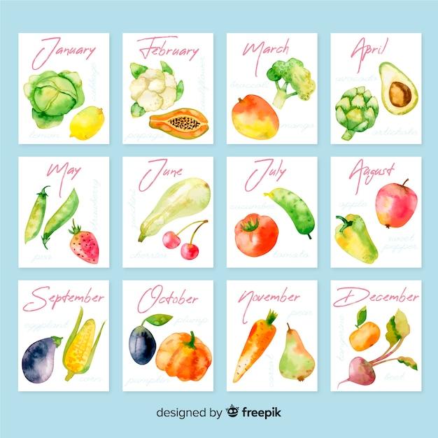 Calendario ad acquerello di frutta e verdura di stagione Vettore gratuito