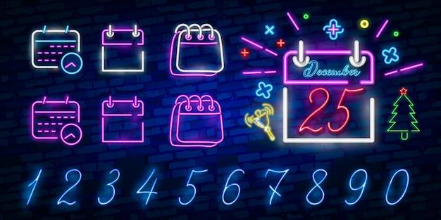 Calendario blu neon incandescente ui ux icona. logo segno incandescente Vettore Premium