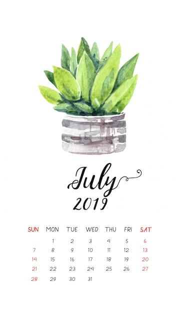 Calendario 31 Luglio 2019.Calendario Cactus Acquerello Per Luglio 2019 Scaricare