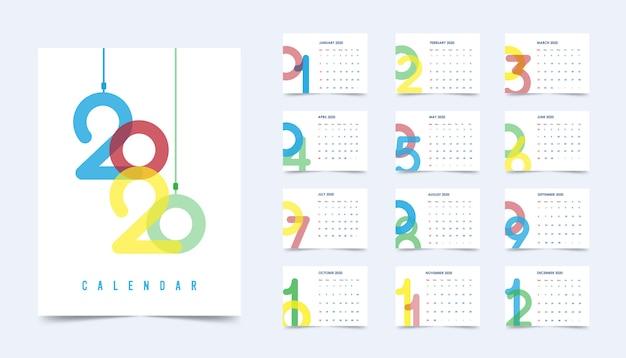Calendario capodanno 2020 Vettore Premium
