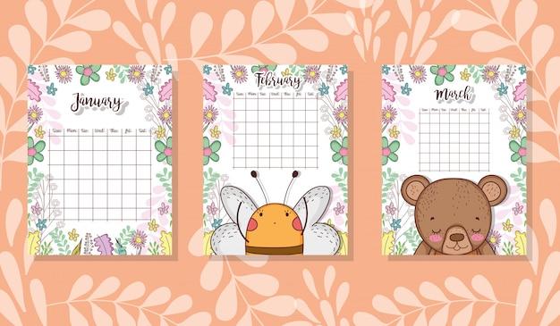 Calendario carino con animali e fiori Vettore Premium