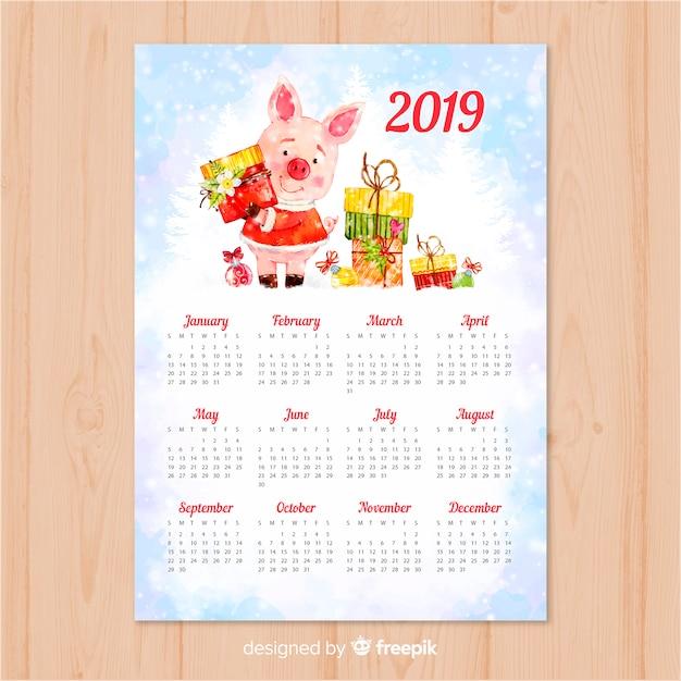 Calendario cinese del nuovo anno 2019 dell'acquerello Vettore gratuito