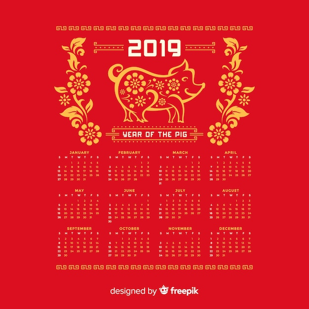 Calendario cinese del nuovo anno dei fiori e del maiale Vettore gratuito