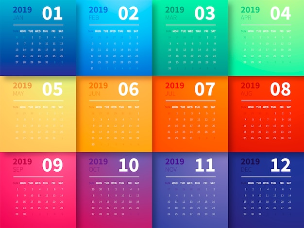 Calendario colorato 2019 Vettore gratuito