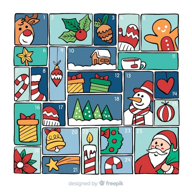 Calendario colorato dell'avvento Vettore gratuito