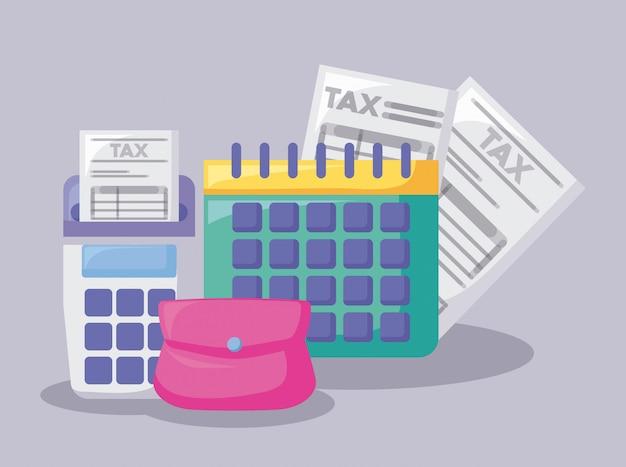 Calendario con economia e finanziario Vettore Premium