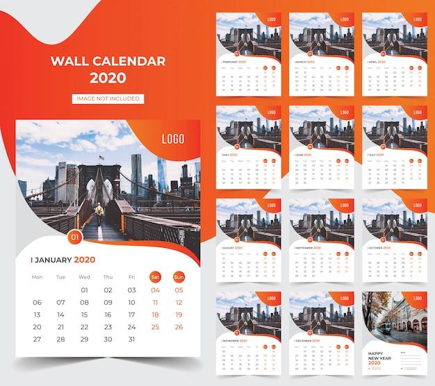 Calendario da parete 2020 Vettore Premium