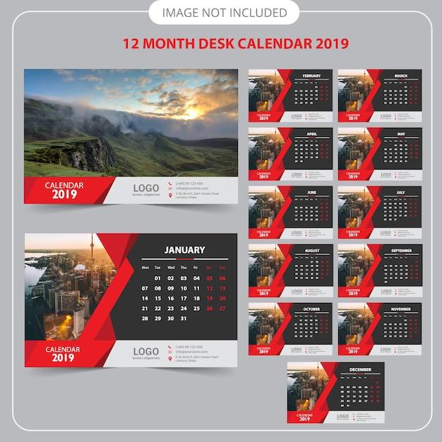 Calendario da tavolo 2019 Vettore Premium
