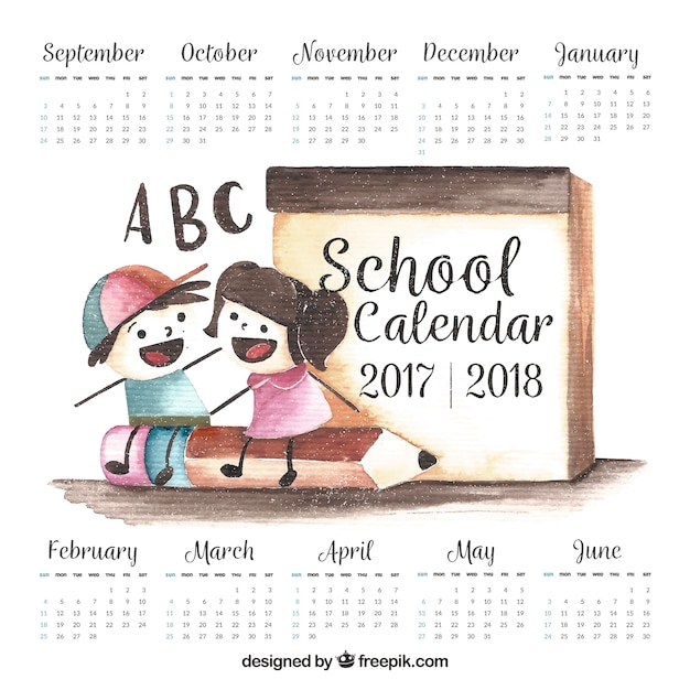 Calendario dei bambini delle scuole di acquerello Vettore gratuito
