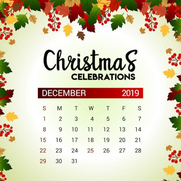 Calendario Mese Dicembre 2019.Calendario Del Mese Di Dicembre 2019 Scaricare Vettori Premium