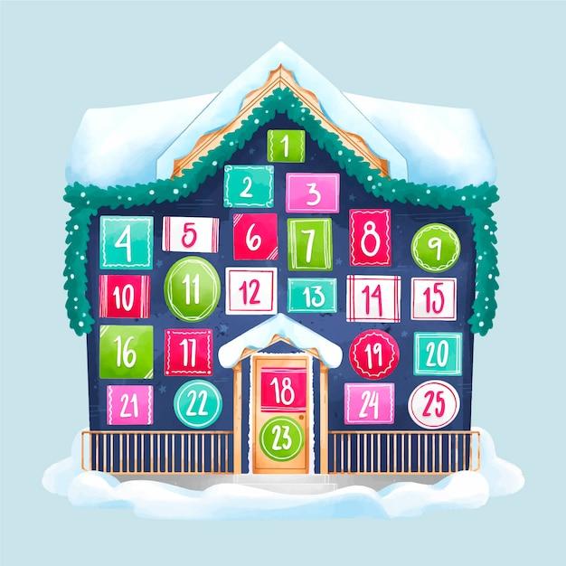 Calendario dell'avvento dell'acquerello festivo Vettore gratuito