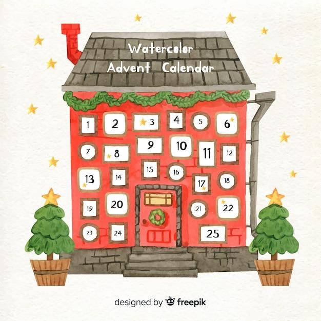 Calendario dell'avvento della casa dell'acquerello Vettore Premium