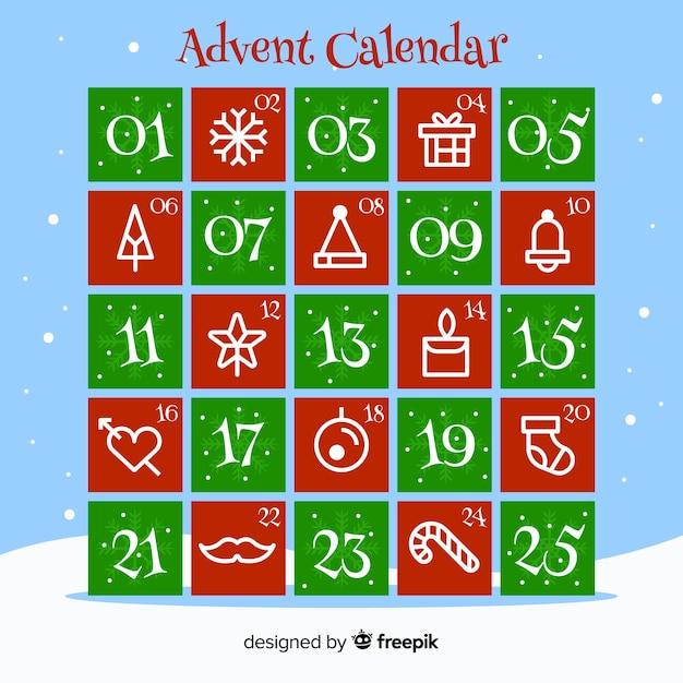 Calendario dell'avvento di elementi piatti Vettore gratuito