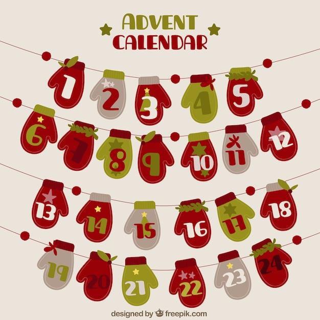 Natale Calendario.Calendario Dell Avvento Di Guanti Di Natale In Stile Vintage