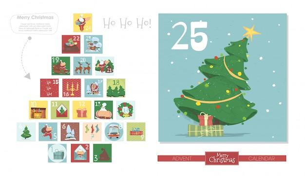Calendario dell'avvento di natale, babbo natale, abete Vettore Premium