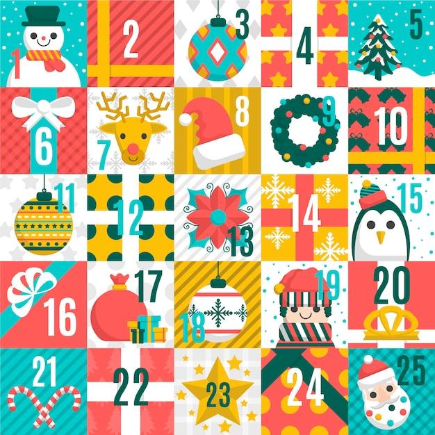Calendario dell'avvento di natale con modelli senza soluzione Vettore gratuito