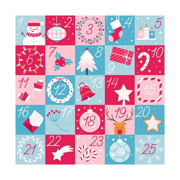 Calendario dell'avvento festivo design piatto Vettore gratuito