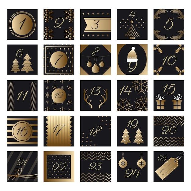 Calendario dell'avvento festivo dorato Vettore gratuito