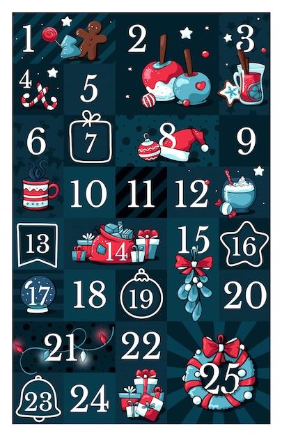 Calendario dell'avvento natalizio, con illustrazioni simpatiche di doodle Vettore Premium