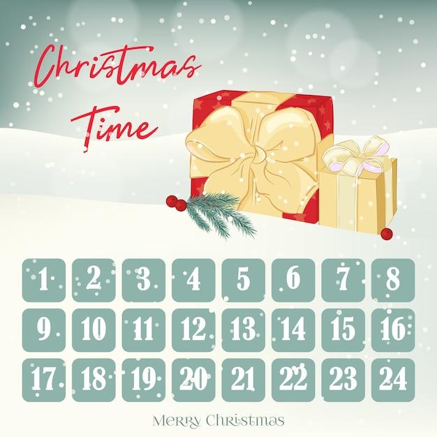 Calendario dell'avvento natalizio Vettore Premium