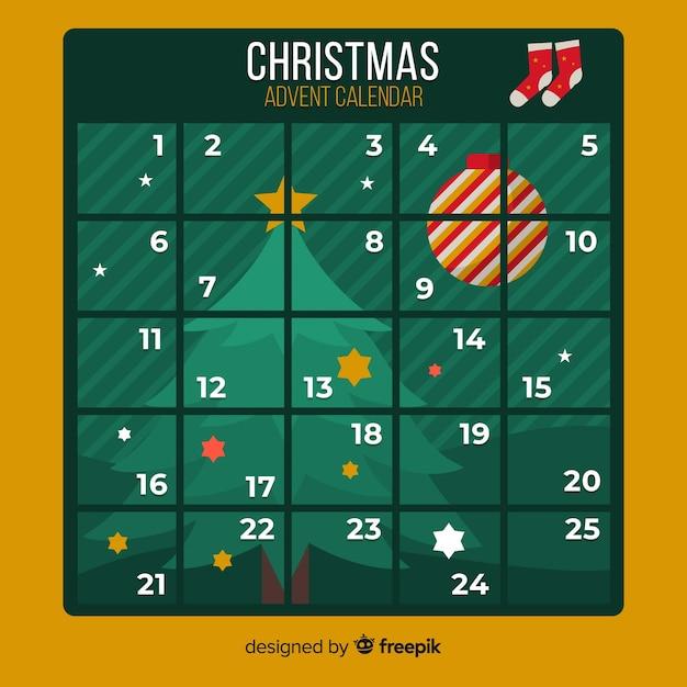 Calendario dell'avvento Vettore gratuito