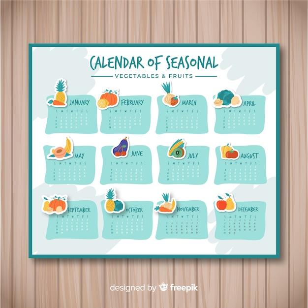 Calendario di cibo stagionale disegnato a mano Vettore gratuito