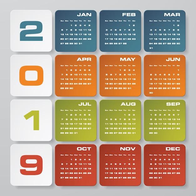 Calendario 2019 Moderno.Calendario Di Design Moderno 2019 Scaricare Vettori Premium