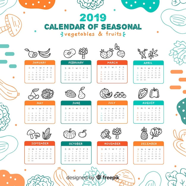 Calendario di frutta e verdura stagionale disegnata a mano Vettore gratuito