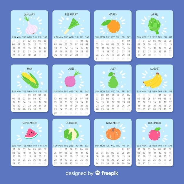 Calendario Stagionalita Frutta E Verdura.Calendario Di Frutta E Verdura Stagionale Disegnata A Mano