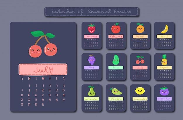 Calendario di frutti di stagione Vettore Premium