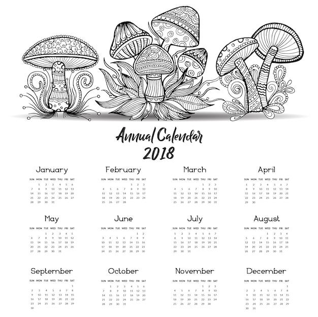 Calendario Funghi.Calendario Di Funghi Disegnati A Mano In Bianco E Nero 2018