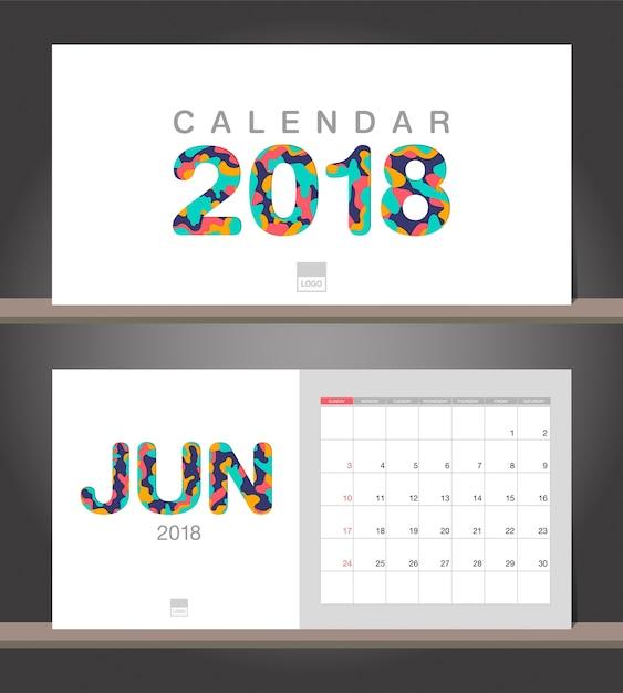 Calendario Di Giugno.Calendario Di Giugno 2018 Modello Di Design Moderno