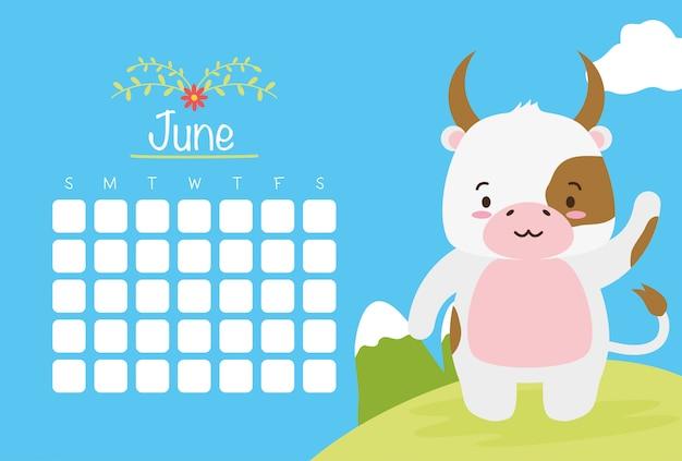 Calendario di giugno con mucca carina sopra stile blu, piatto Vettore gratuito