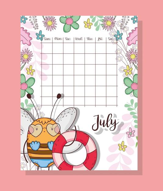 Calendario Di Luglio.Calendario Di Luglio Con Animale Carino Ape Scaricare