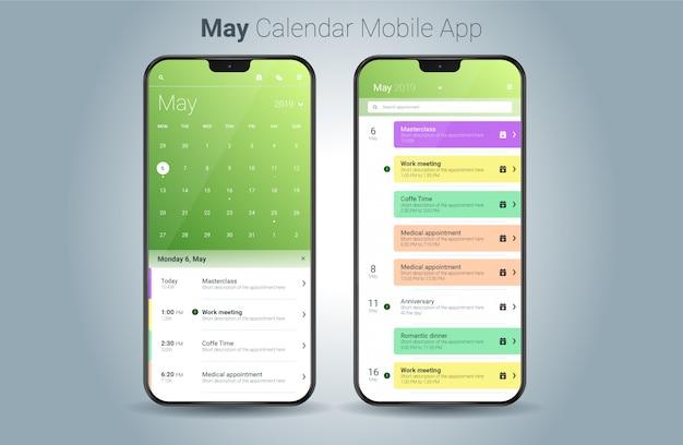 Calendario di maggio applicazione mobile luce ui vettoriale Vettore Premium
