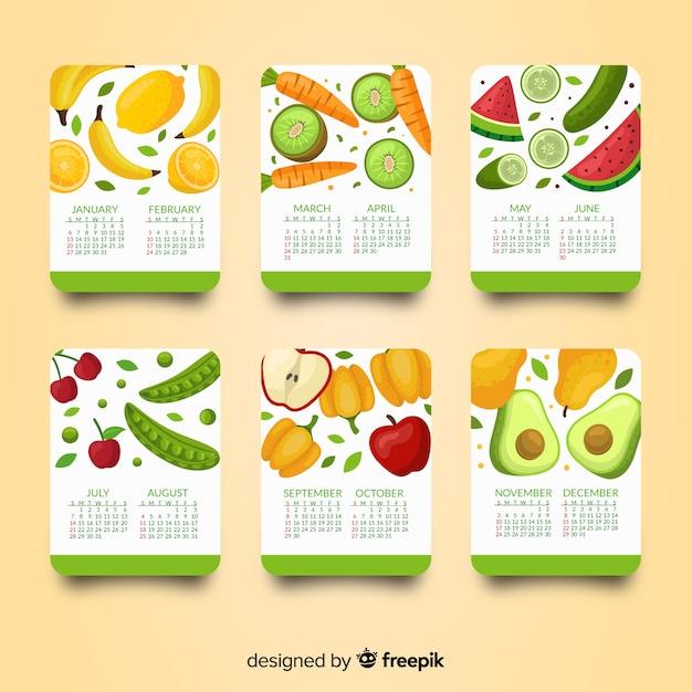 Calendario disegnato a mano di frutta e verdura di stagione Vettore gratuito