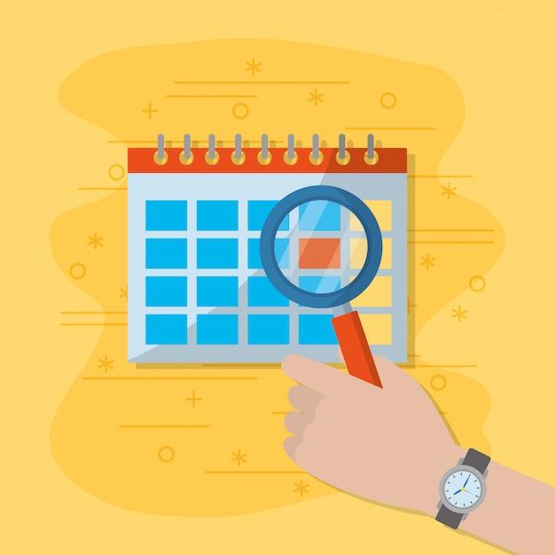 Calendario e lente di ingrandimento Vettore Premium
