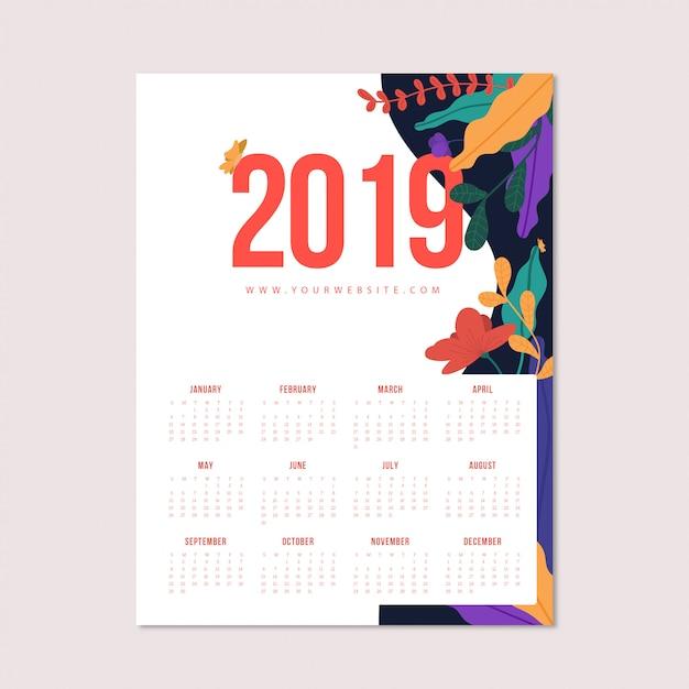 Calendario fiorito Vettore gratuito