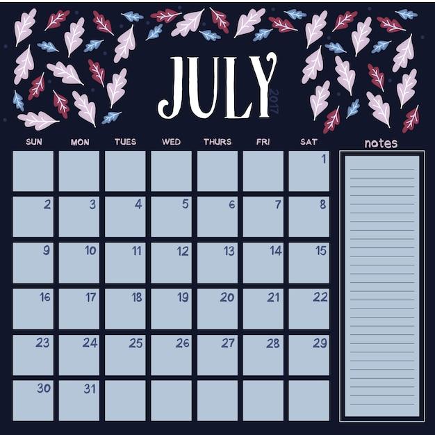 Calendario Di Luglio.Calendario Floreale Di Luglio Calendario Scaricare Vettori