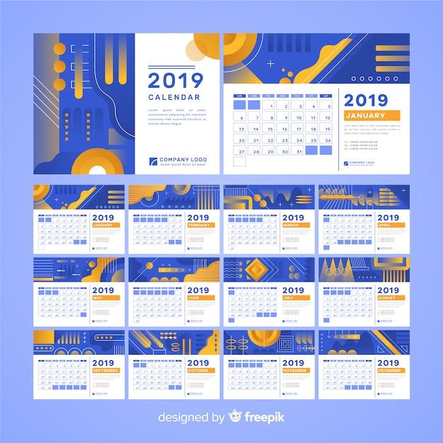Calendario forme astratte 2019 Vettore gratuito