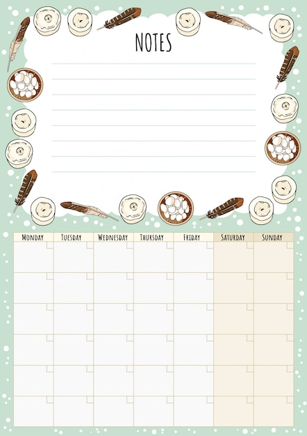 Calendario mensile hygge con elementi boho e note per fare la lista. pianificatore scandinavo lagom. Vettore Premium