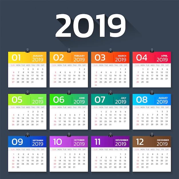 Calendario modello gradiente colorato anno 2019. Vettore Premium