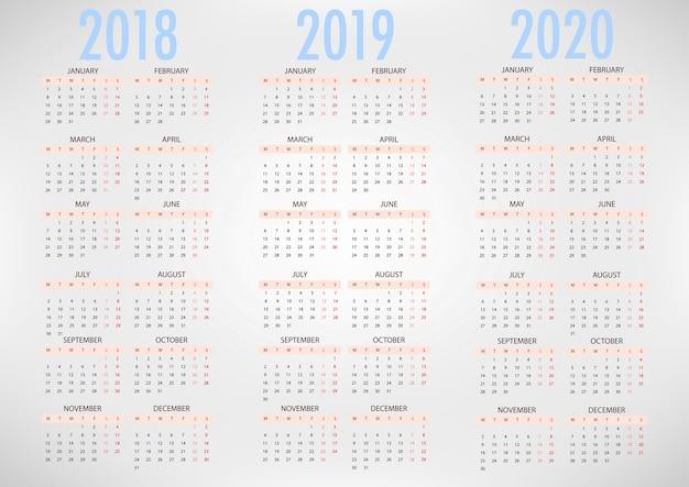 Calendario Cinese 2020.Calendario Per 2018 2019 2020 Modello Vettoriale Semplice