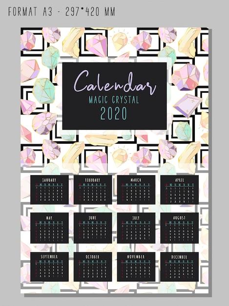 Calendario per il 2020 con cristalli geometrici colorati o gemme, gioielli con diamanti e pietre preziose Vettore Premium